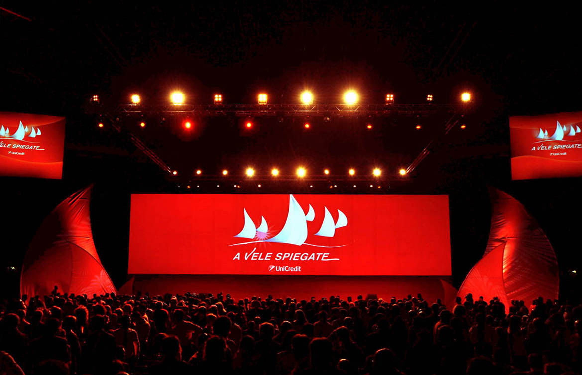 UNICREDIT sails projection Convention stage design project 01